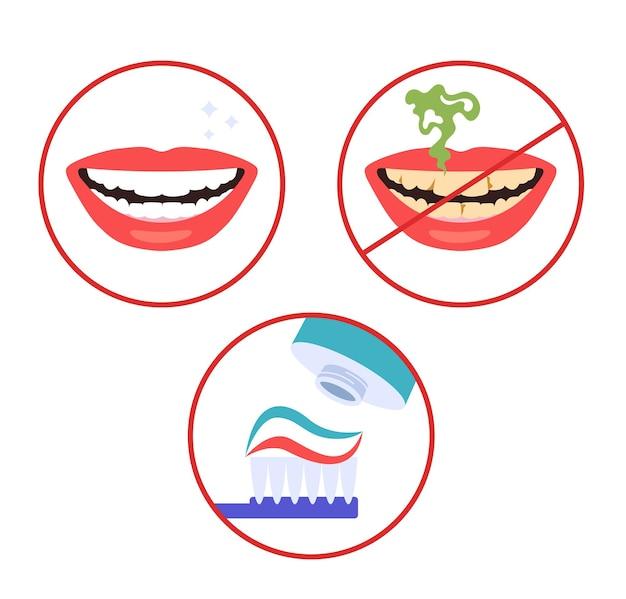 Cepillo de dientes limpios pasos de higiene instrucciones conjunto aislado