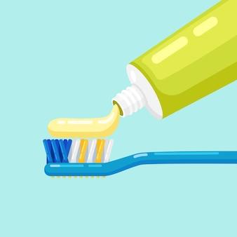 Cepillo de dientes y pasta de dientes para cepillar los dientes. cuidado dental