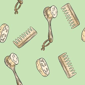 Cepillo de ducha de material natural, esponja vegetal y peine de patrones sin fisuras. producto ecológico y de cero residuos. casa verde y libre de plástico.