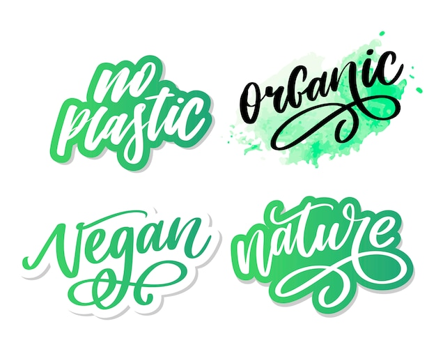 Cepillo orgánico letras. palabra dibujada a mano orgánica con hojas verdes. etiqueta, plantilla de logotipo para productos orgánicos, mercados de alimentos saludables.