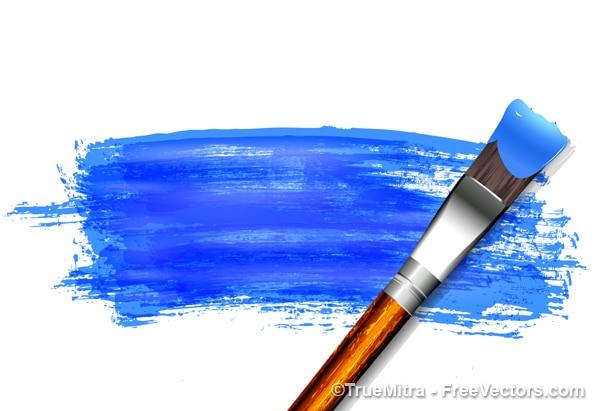 Cepillo de pintura azul sobre papel