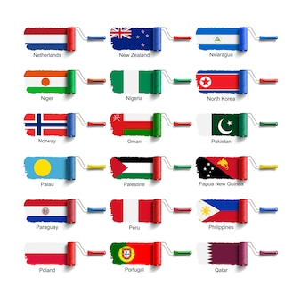 Cepillo de rodillo con bandera nacional