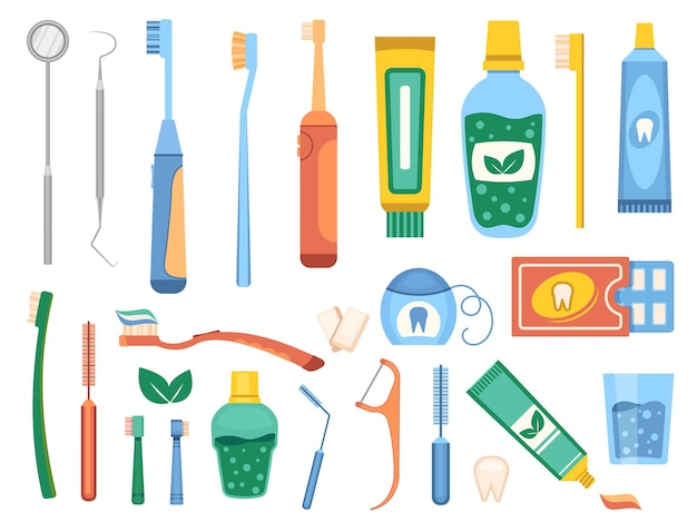Cepillos de dientes de dibujos animados, higiene dental y herramienta de limpieza bucal. enjuague bucal plano, hilo dental, pasta de dientes y equipo de dentista. conjunto de vectores de cuidado de los dientes. objetos médicos de salud bucal, tratamiento de dientes.
