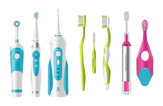 Cepillos de dientes de plástico, diferentes formas para cepillarse los dientes.