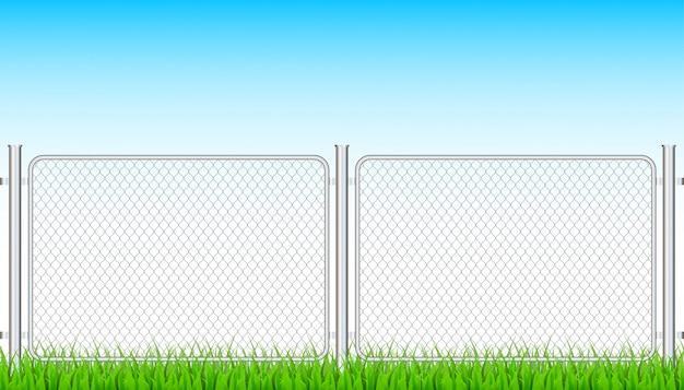 Cerca de alambre de metal de la cadena de enlace. barrera de prisión, propiedad asegurada. ilustración de stock