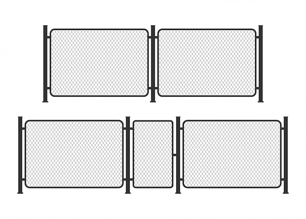 Cerca de alambre de metal de la cadena de enlace. barrera de prisión, propiedad asegurada. ilustración.
