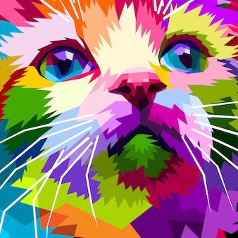 Cerca de cara hermoso gato