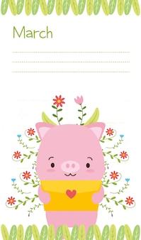 Cerdito con carta de amor, lindo calendario animal, ilustración