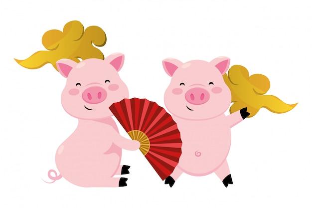 Cerdo con abanico chino