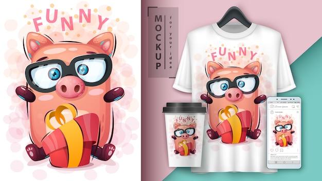 Cerdo con cartel de regalo y merchandising.