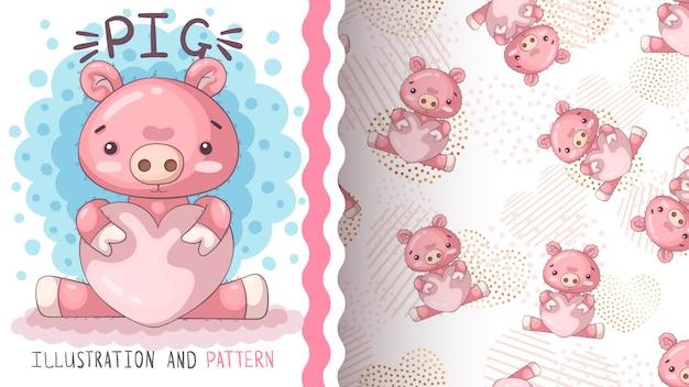 Cerdo con corazón - patrón sin costuras