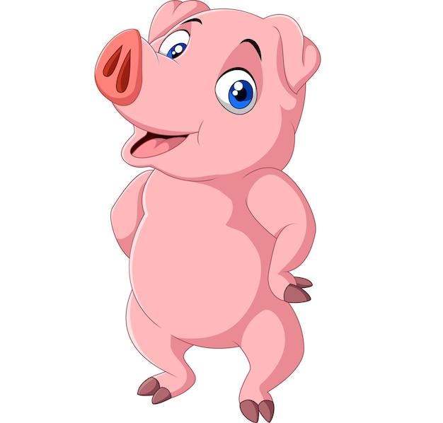 Cerdo de dibujos animados aislado sobre fondo blanco