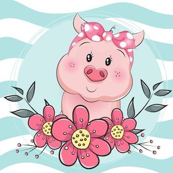 Cerdo de dibujos animados con flores en fondo azul