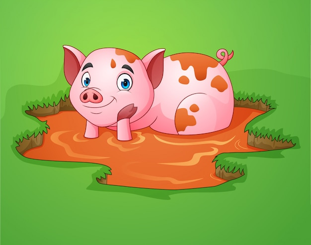 Cerdo de dibujos animados jugando un charco de barro en la granja