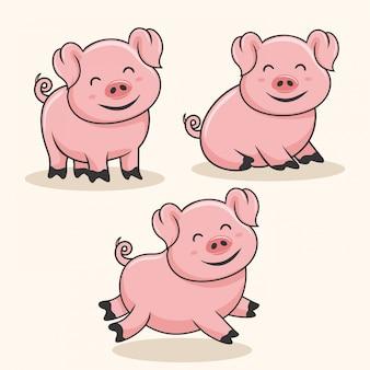 Cerdo de dibujos animados lindo bebé cerdo cerdo