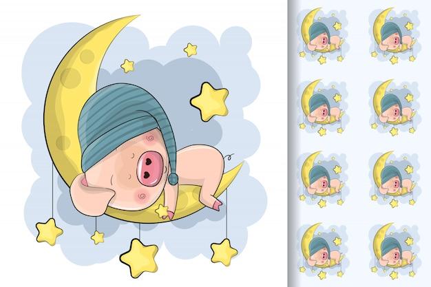 Cerdo de dibujos animados lindo dormir en la luna y patrones sin fisuras para niños