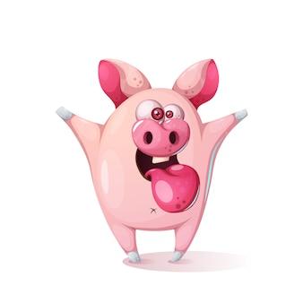 Cerdo de dibujos animados lindo