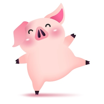Cerdo feliz bailando.