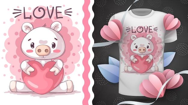 Cerdo con idea de corazón para imprimir dibujar a mano