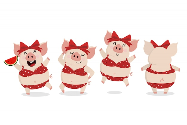 Cerdo lindo en bikini rojo en verano