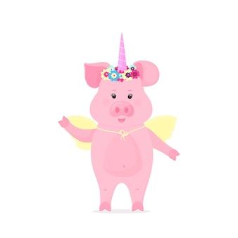 Cerdo lindo disfrazado de unicornio de cuento de hadas con un cuerno y una corona de flores y alas. animal gracioso. el símbolo del año nuevo chino