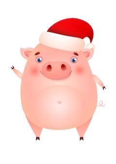 Cerdo lindo divertido en el sombrero de santa agitando la pezuña