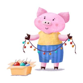 Cerdo lindo y divertido