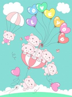 Cerdo lindo flotando en el cielo