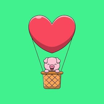 Cerdo lindo en ilustración de dibujos animados de globo de aire caliente
