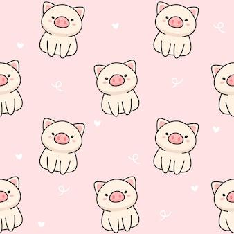 Cerdo lindo patrón sin costuras