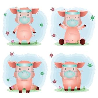 Cerdo lindo usando protector facial y colección de máscaras