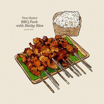 Cerdo a la parrilla y arroz pegajoso del estilo de comida rápida de la calle tailandesa, boceto de dibujo a mano.