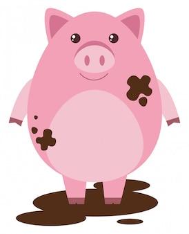 Cerdo rosa en charco fangoso