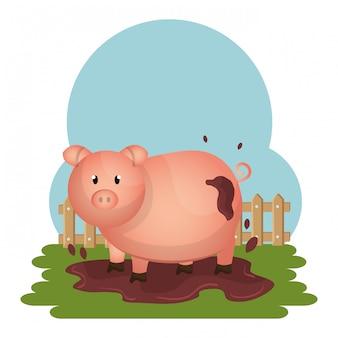Cerdos en la escena de la granja