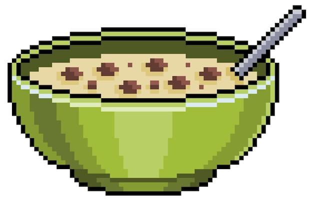 Cereal de chocolate pixel art en un tazón. elemento de juego de bits