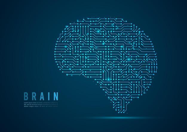 Cerebro abstracto digital sobre fondo azul tecnología circular. línea de red de malla 3d de estructura de alambre, esfera de diseño, alta velocidad y estructura. ilustración vectorial eps 10.