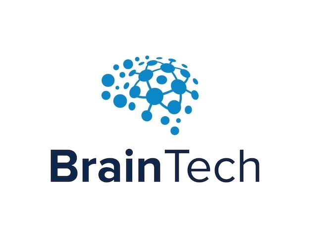 Cerebro abstracto para la industria de la tecnología diseño de logotipo creativo moderno geométrico simple elegante