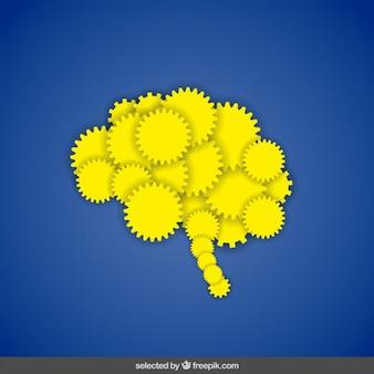 Cerebro amarillo hecho con engranajes