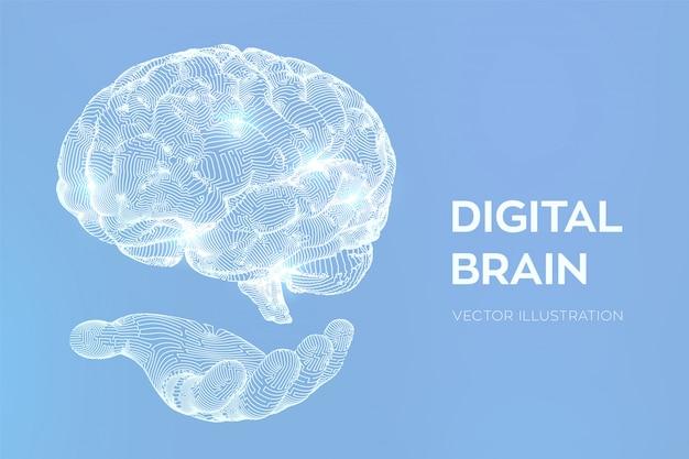 Cerebro. cerebro digital en mano. red neuronal.