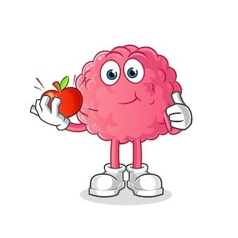 Cerebro comiendo una ilustración de manzana. vector de personaje