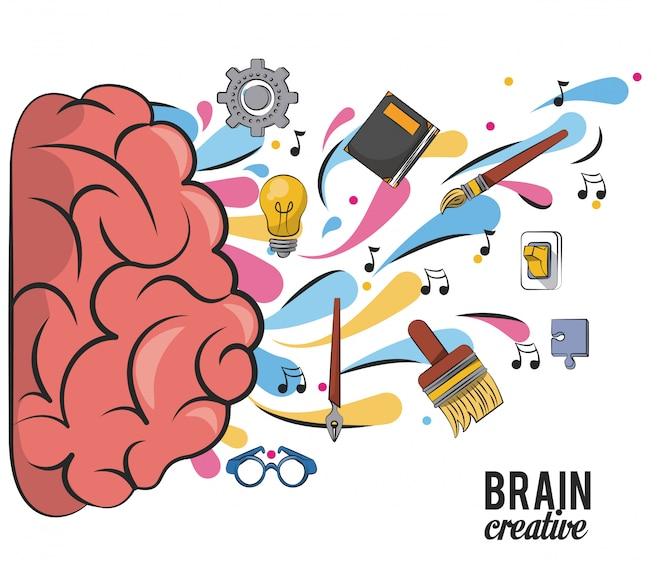 Cerebro creativo con útiles escolares