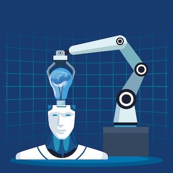 Cerebro de ensamblaje de brazo robótico de tecnología de inteligencia artificial en cyborg