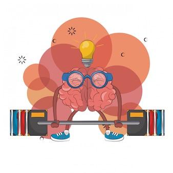 Cerebro con la gran idea que levanta el diseño gráfico del ejemplo del vector del peso de libros