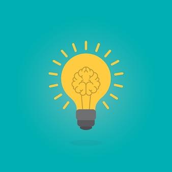 Cerebro humano como lámpara de bombilla