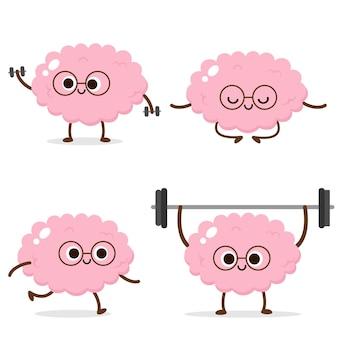 Cerebro humano de dibujos animados corriendo, levantamiento de pesas, meditando