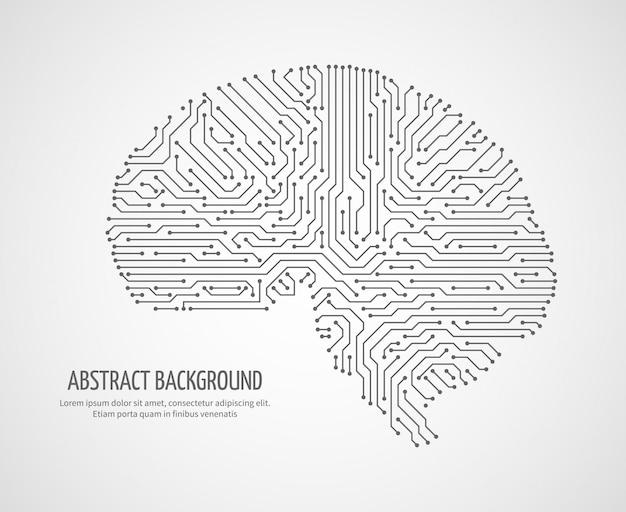 Cerebro humano digital con placa de circuito de ordenador. concepto de vector de tecnología de medicina electrónica