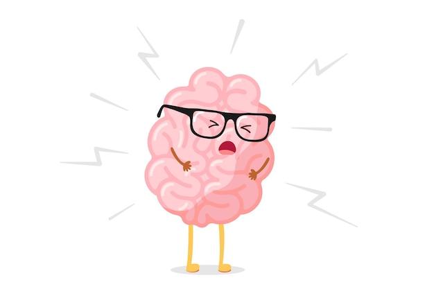 Cerebro humano enojado de dibujos animados lindo en estrés. el órgano del sistema nervioso central está enfermo. ilustración de dolor de cabeza de personaje de dolor de vector plano