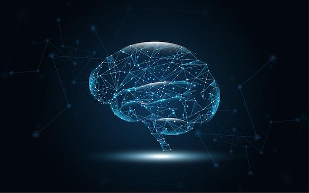 Cerebro humano gráfico digital alambre punto y línea de fondo