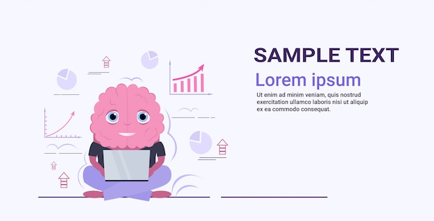 Cerebro humano lindo usando la computadora portátil que analiza el concepto de lluvia de ideas del gráfico financiero personaje de dibujos animados rosado estilo kawaii copia horizontal espacio