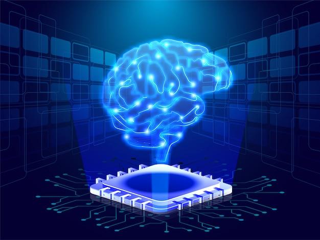 Cerebro humano en rayos emergentes digitales